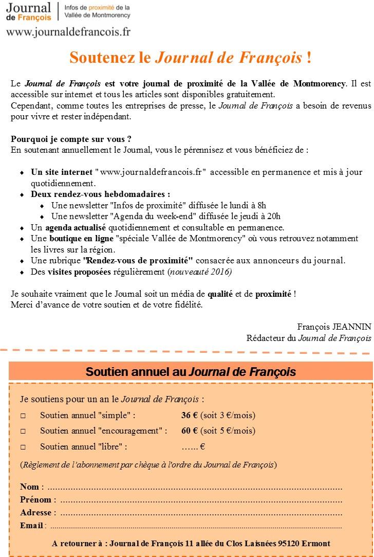Bulletin de soutien annuel au Journal de François