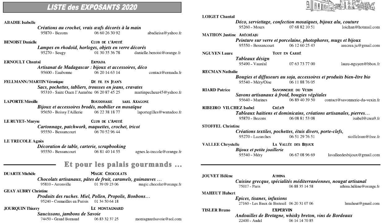 Liste des exposants - 2020