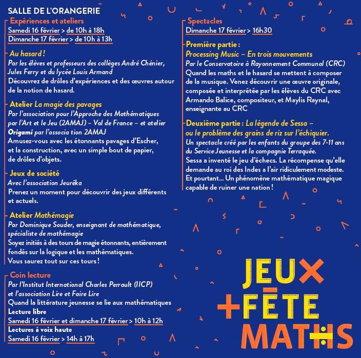 Programme de JEUX FETE MATHS - Eaubonne 2019