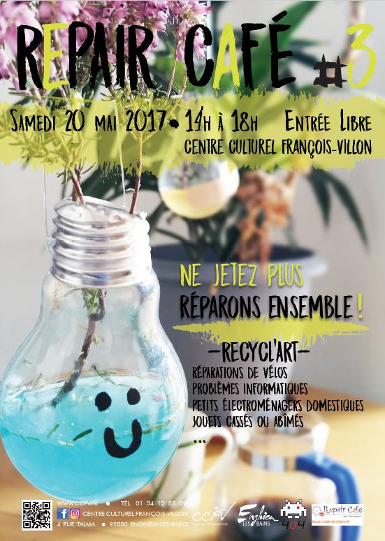REPAIR CAFE à ENGHIEN le 20 mai 2017