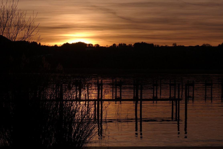 Coucher de soleil sur le lac de Chiemsee