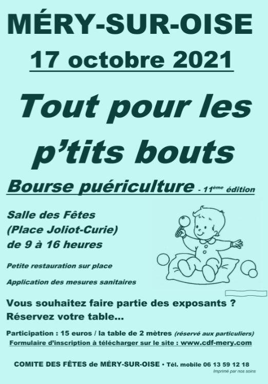 Bourse puériculture Méry-sur-Oise 17 octobre 2021