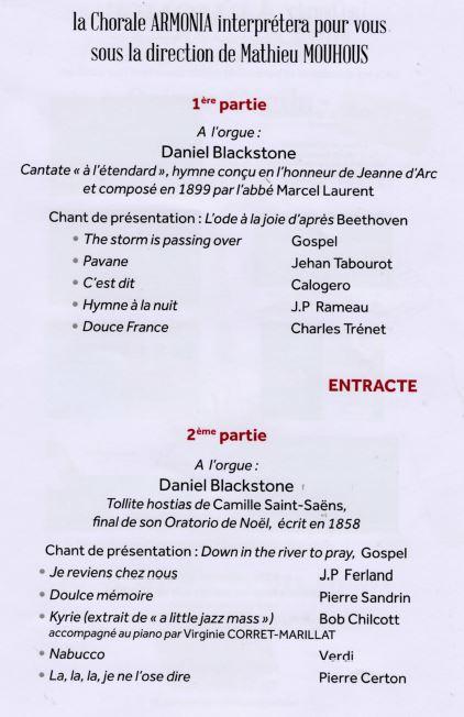 Programme du concert du 17 novembre 2019 à Ermont