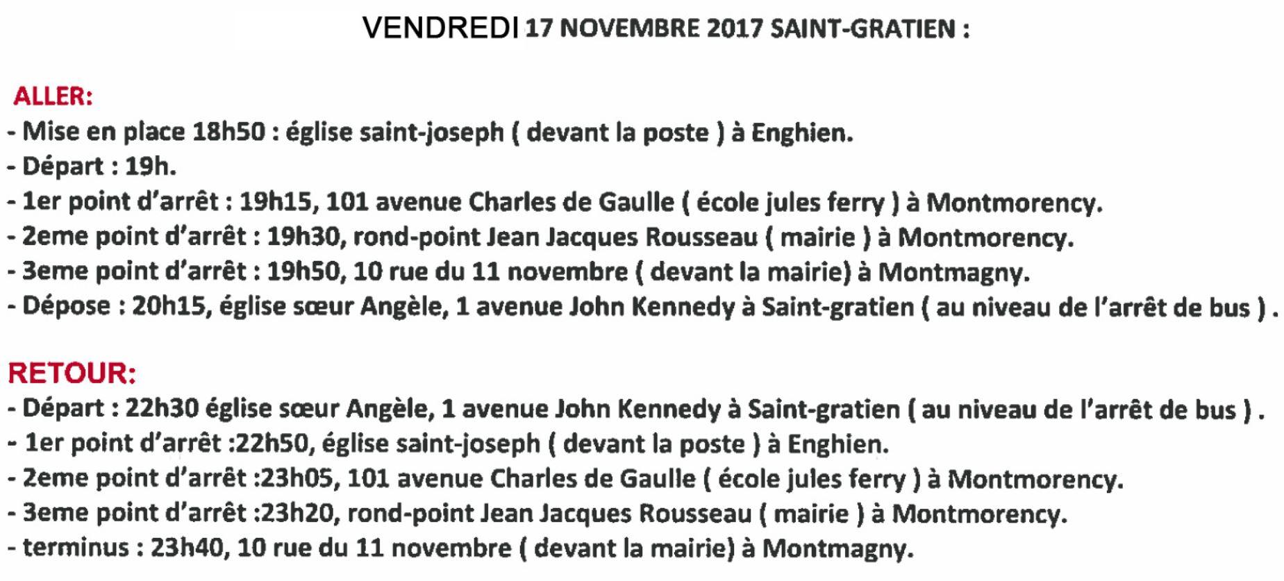 Navettes pour le concert de Saint-Gratien