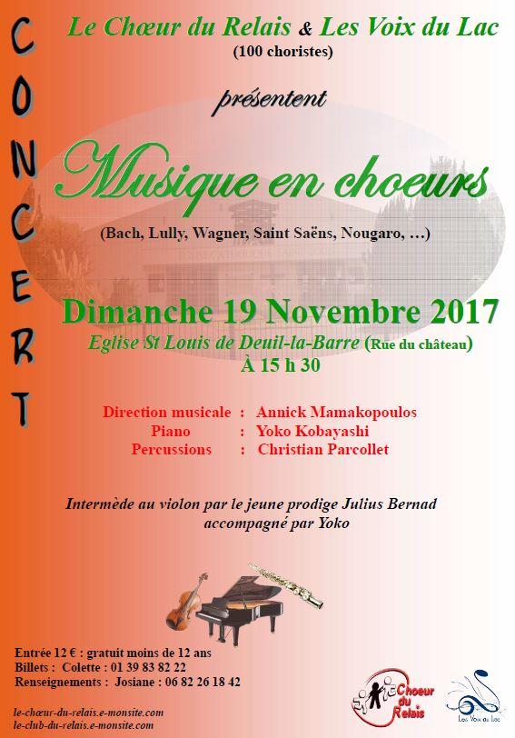CHOEUR DU RELAIS et VOIX DU LAC 19 novembre 2017