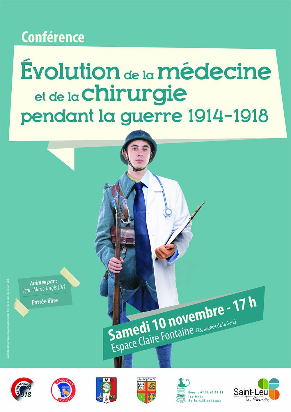 Conférence : evolution de la medecine et de la chirurgie pendant la guerre 1914 1918