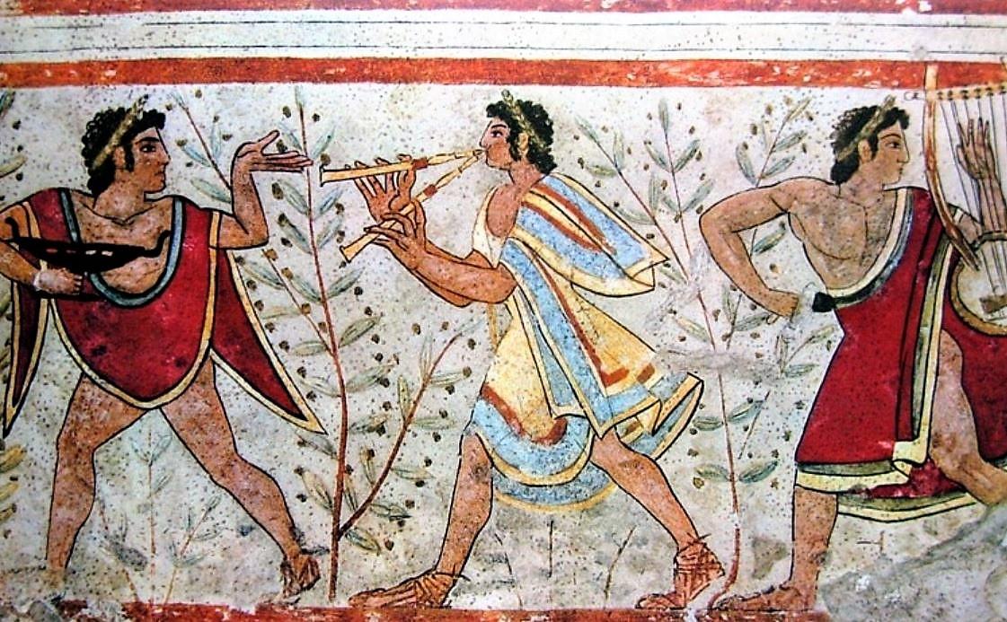 Peinture murale sur une tombe étrusque