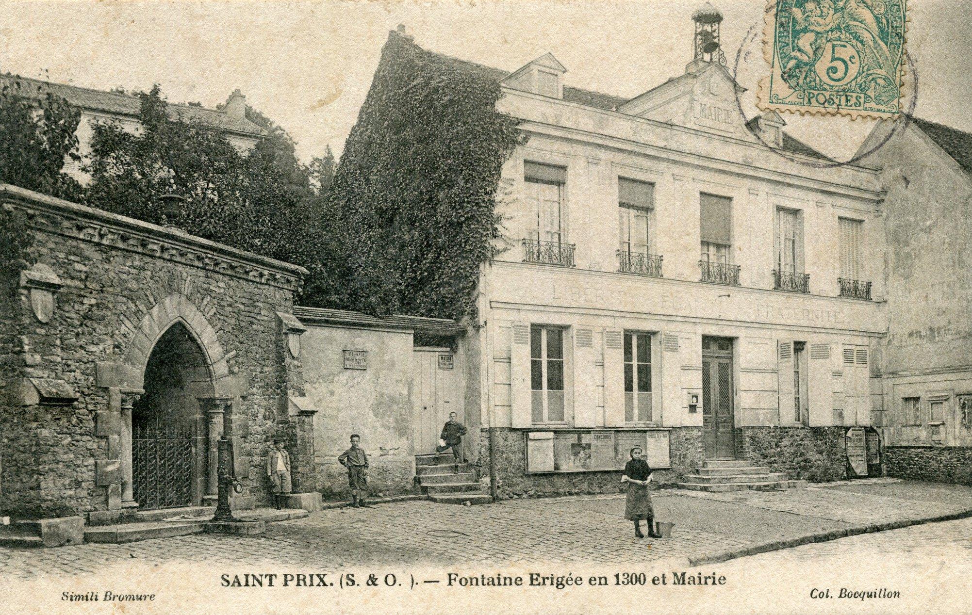 Fontaine et ancienne mairie de Saint-Prix (collection Gérard Bourse)