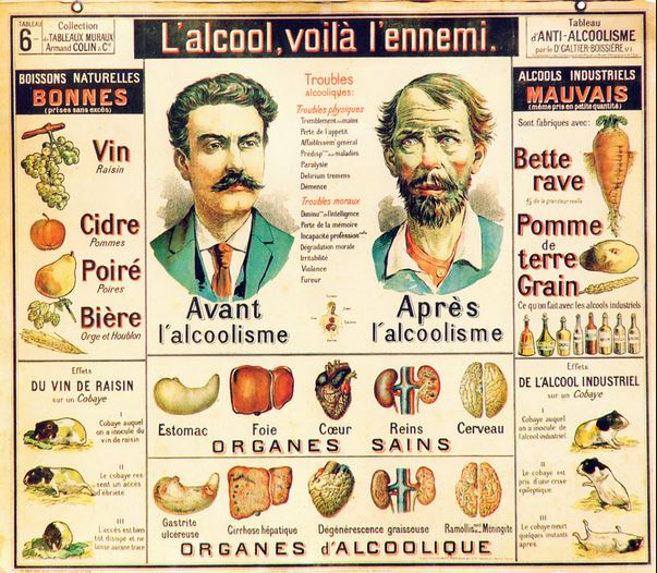 L'alcool voilà l'ennemi Affiche datant de 1900
