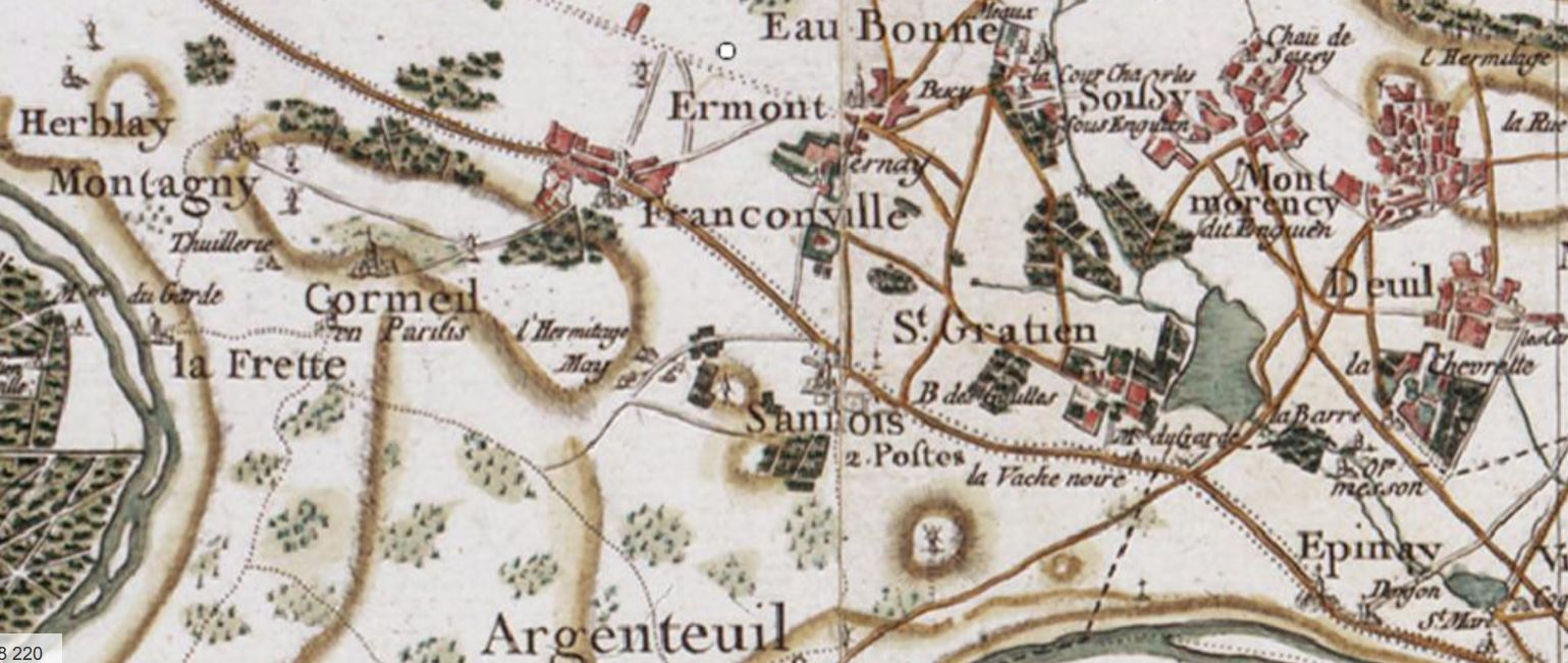 extrait Carte de la France Cassini