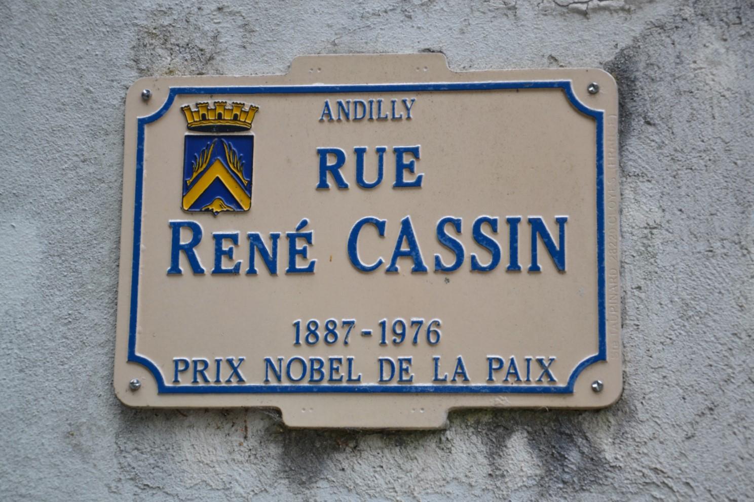 Plaque de la rue René Cassin