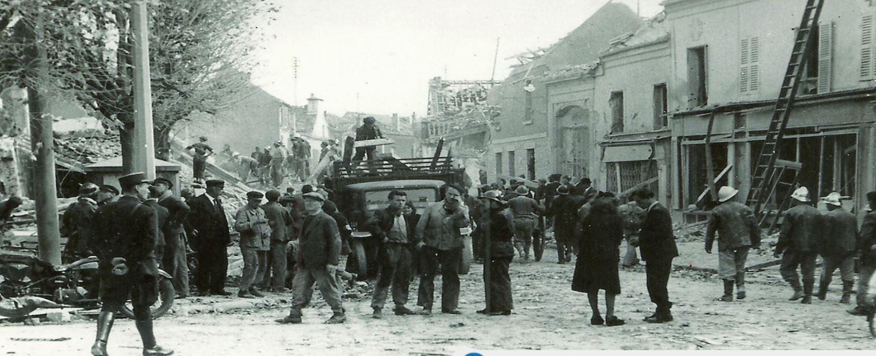 Le cntre ville après la chute du V2 (extrait site internet de la ville de Deuiml-la-Barre)