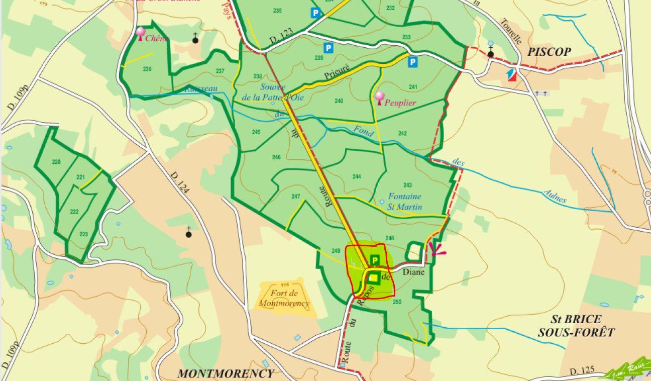 Carte Forêt - Rendez-vous : parking forestier de la route du Repos de Diane en forêt de Montmorency