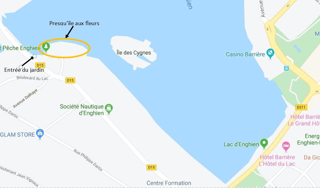 Plan Prequ'ile aux fleurs - lac d'Enghien