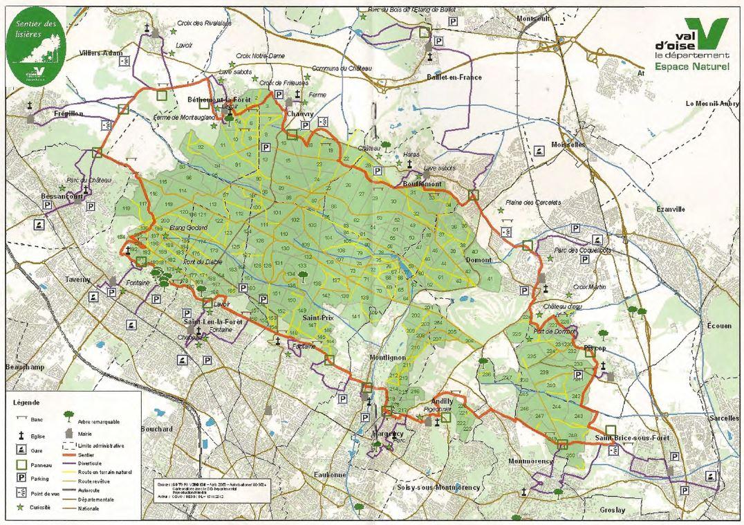 Carte du sentier des lisières de la forêt de Montmorency