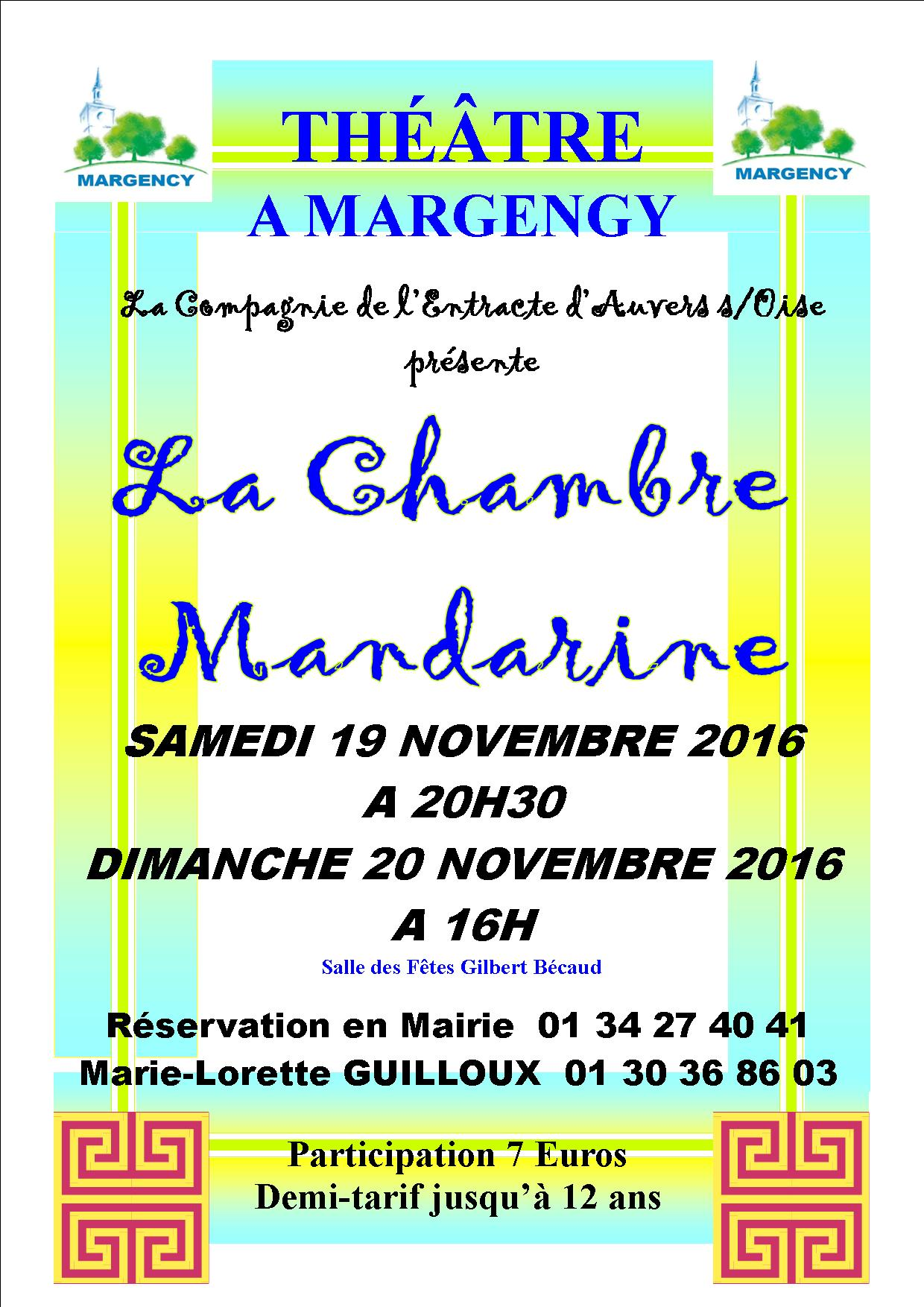 Th tre la chambre mandarine margency les samedi 19 for La chambre mandarine