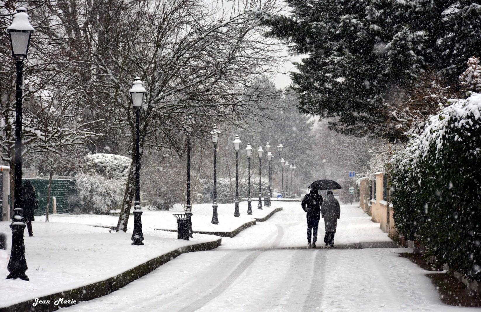 Episode neigeux à Saint-Gratien (janvier 2021 - photo de Jean-Marie Perdrial)